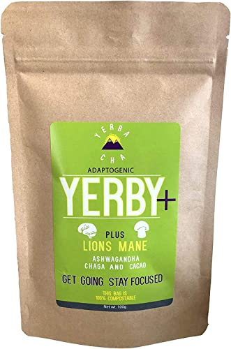 Yerby Yerba Mate Powder Adaptogen Blend for Focus Energy Prime Nootropic Lions Mane Mushroom, Chaga, Ashwagandha, Cacao Yerba Latte