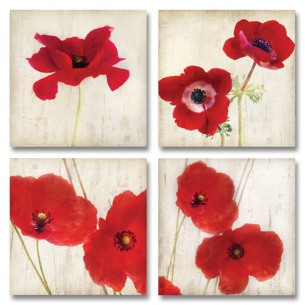 Red Flower Wall Art Amazon