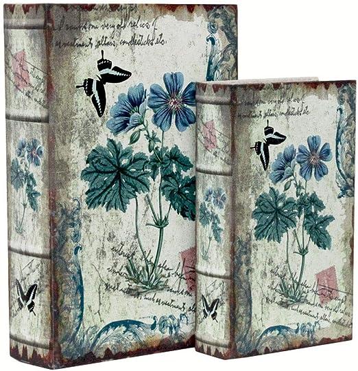 Keyhome - Caja Libro con Tapa, 2 Cajas de Flores florecidas, Caja ...