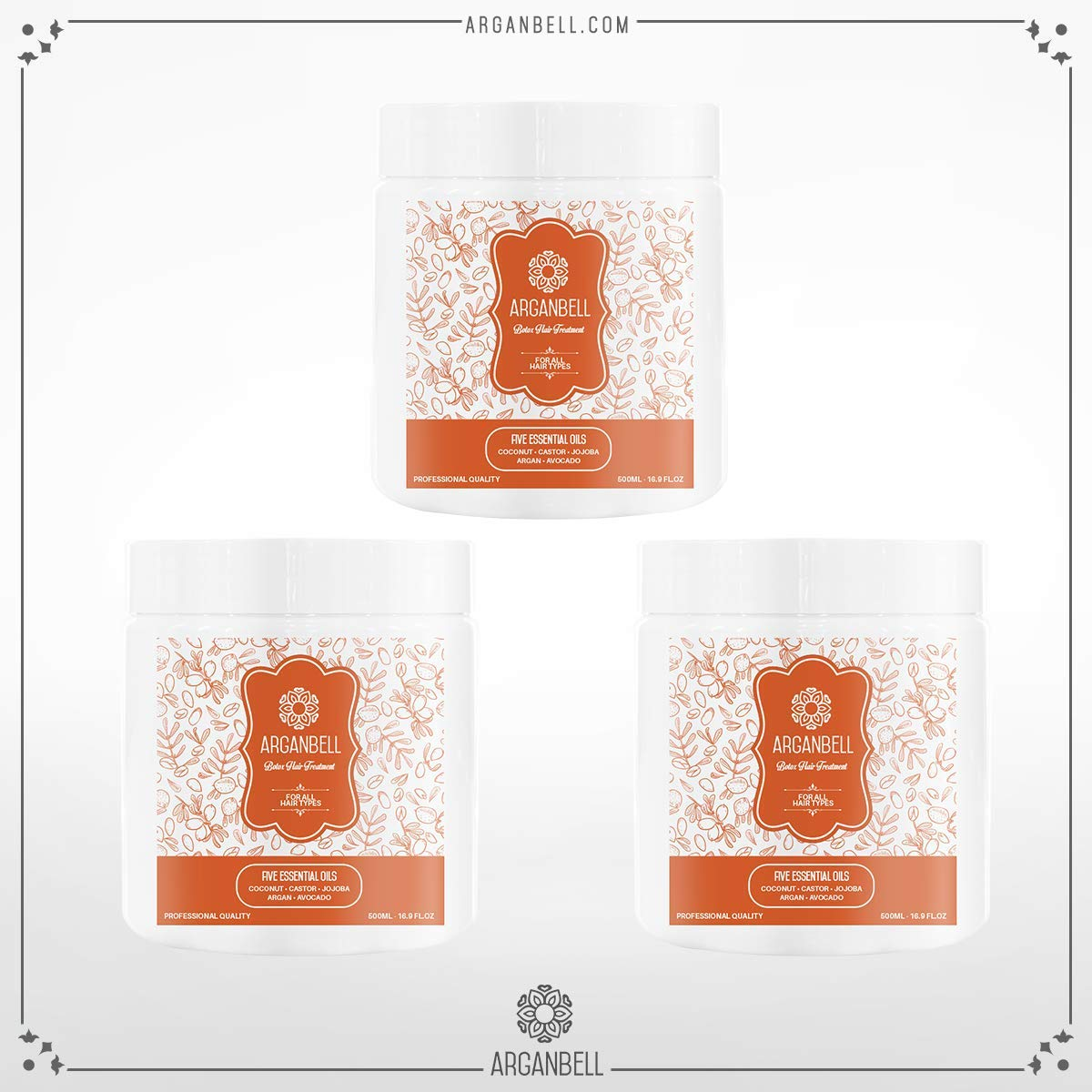 ARGANBELL Botox Hair Treatment for All HairTypes - Five Essential Oils - Coconut - Castor - Jojoba - Argan - Avocado.To Provides Smoothness, Vitamins, Proteins and Minerals. 3 Pack Bundle 58.20 Fl Oz.