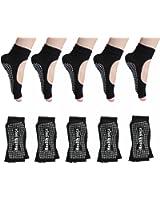 Half-Toe Womens Yoga Socks Non Slip with Grips Pilates Barre Sock