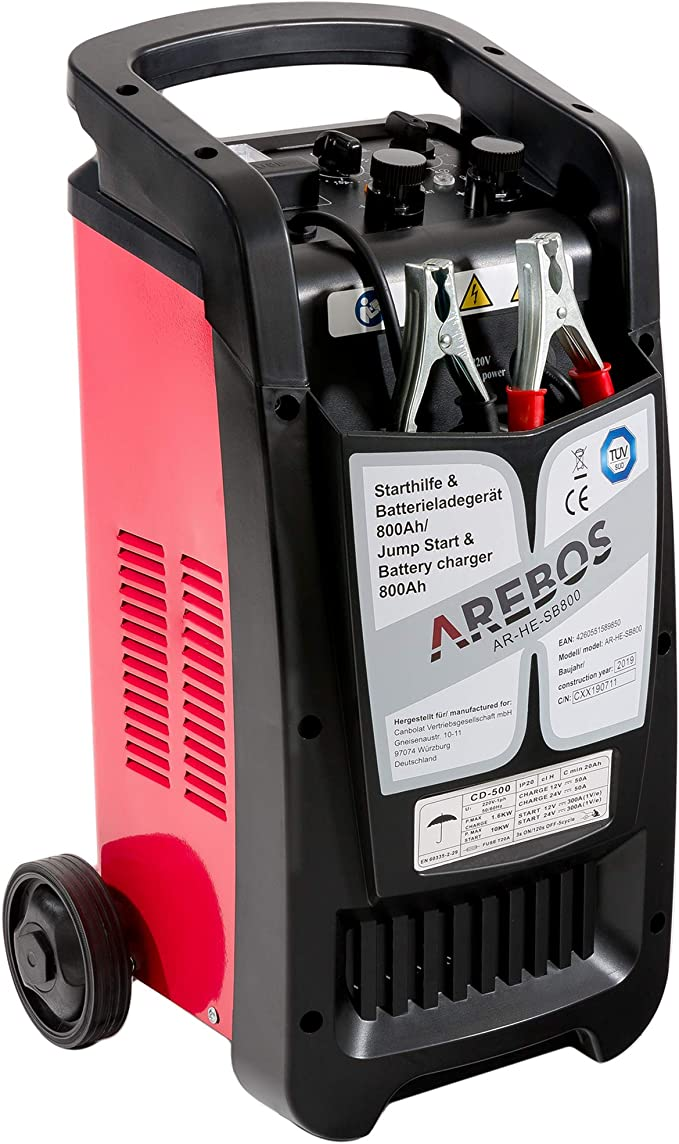 Arebos Car Jump Starter And Battery Charger For Battery Capacities Up To 800 Ah With Booster Function For 12 V Cars And 24 V Trucks Auto