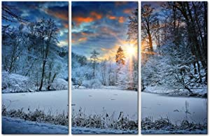 Winter Snow Modern Canvas Painting Wall Art Snowfield Forest Tree Sunrise sunset Landscape Mountain & Tree Print on Canvas Artwork Wall Decor 3 Pieces