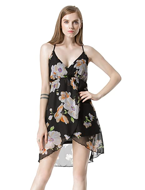 50e59ce65ba92 Moxeay Sexy V Neck Spaghetti Straps Back Cross Floral Print Chiffon Dress