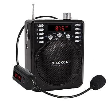 newgood Amplificador de voz portátil bluetooth con micrófono inalámbrico de auriculares, reproductor de mp3 (