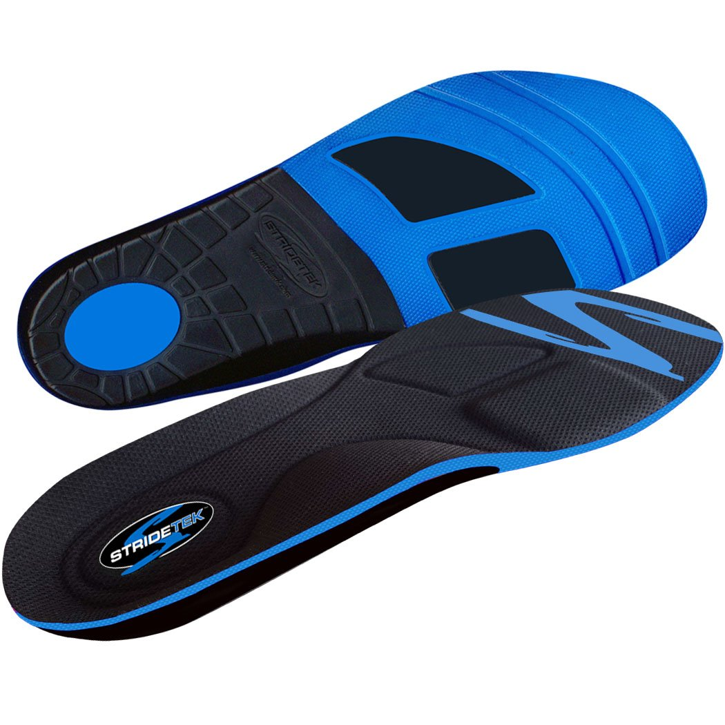 Stridetek Tactical Trainer Orthotic Insoles - Arch Support Metatarsal Pad & Gel Plugs Prevent Foot Pain Plantar Fasciitis & Shin Splints - (Blue) - Mens 4 / Womens 5 by Stridetek