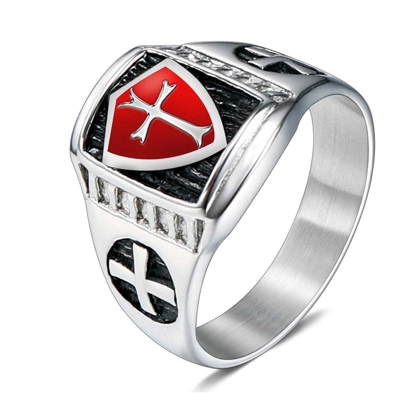 AMDXD Gioielli Anello per Uomo Croce Acciaio Inossidabile Rosso Croce Design Argento Anelli 112YHJZWTQQ164