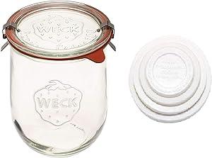 Weck Tulip Jars - Sour Dough Starter Jars - Large Glass Jars for Sourdough - Starter Jar with Glass Lid - Tulip Jar with Wide Mouth - Weck Jars 1 Liter Includes (Keep Fresh Cover)