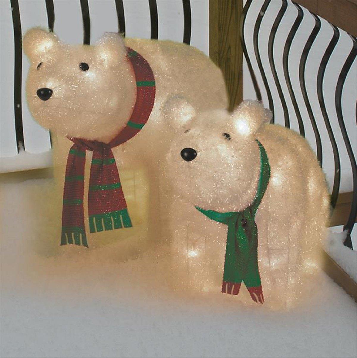 Christmas 32'' Momma & 25'' Baby Cub Bear Tinsel Yard Decoration by ghi