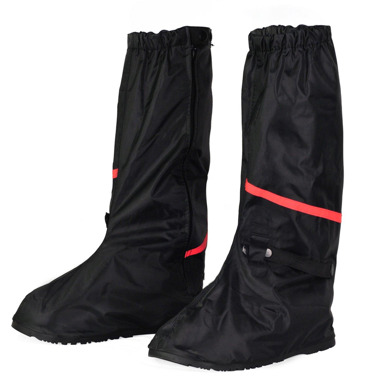KEESIN Wasserdichte Schuhe Cover Wiederverwendbare Regenüberschuhe Schuhüberzieher Rutschfeste Reflektierende mit Reißverschluss Überschuhe für Outdoor-Aktivitäten