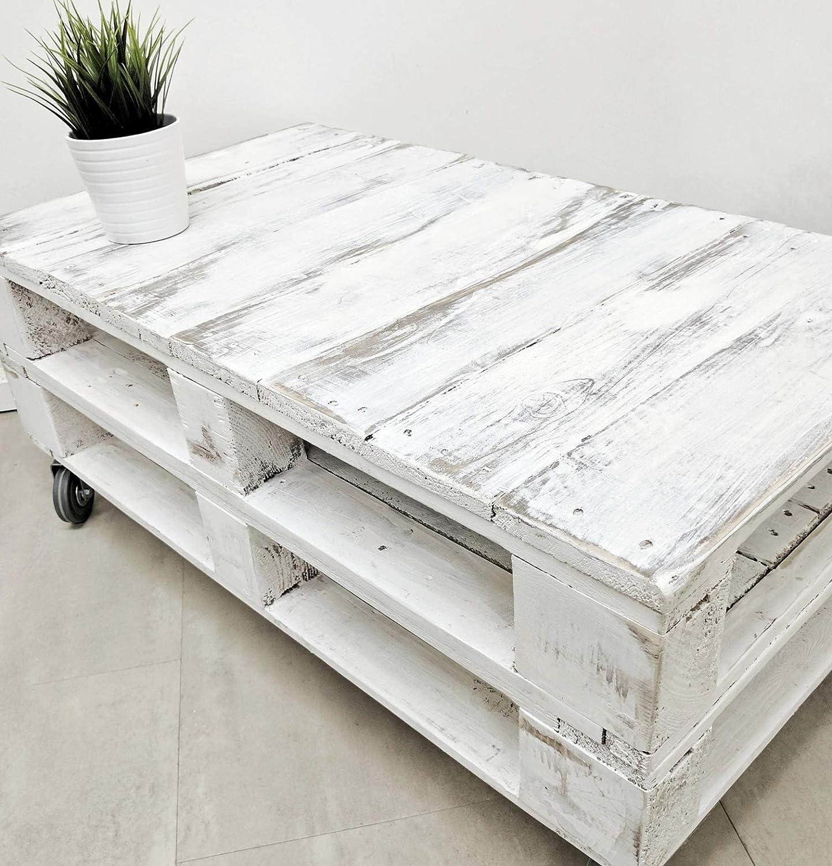Dydaya Mesa de Centro Vintage Blanca echa con Madera de Palets & Pale - Mesas auxiliares Bajas & pequeñas - Muebles Blancas & Objectos Vintage ...