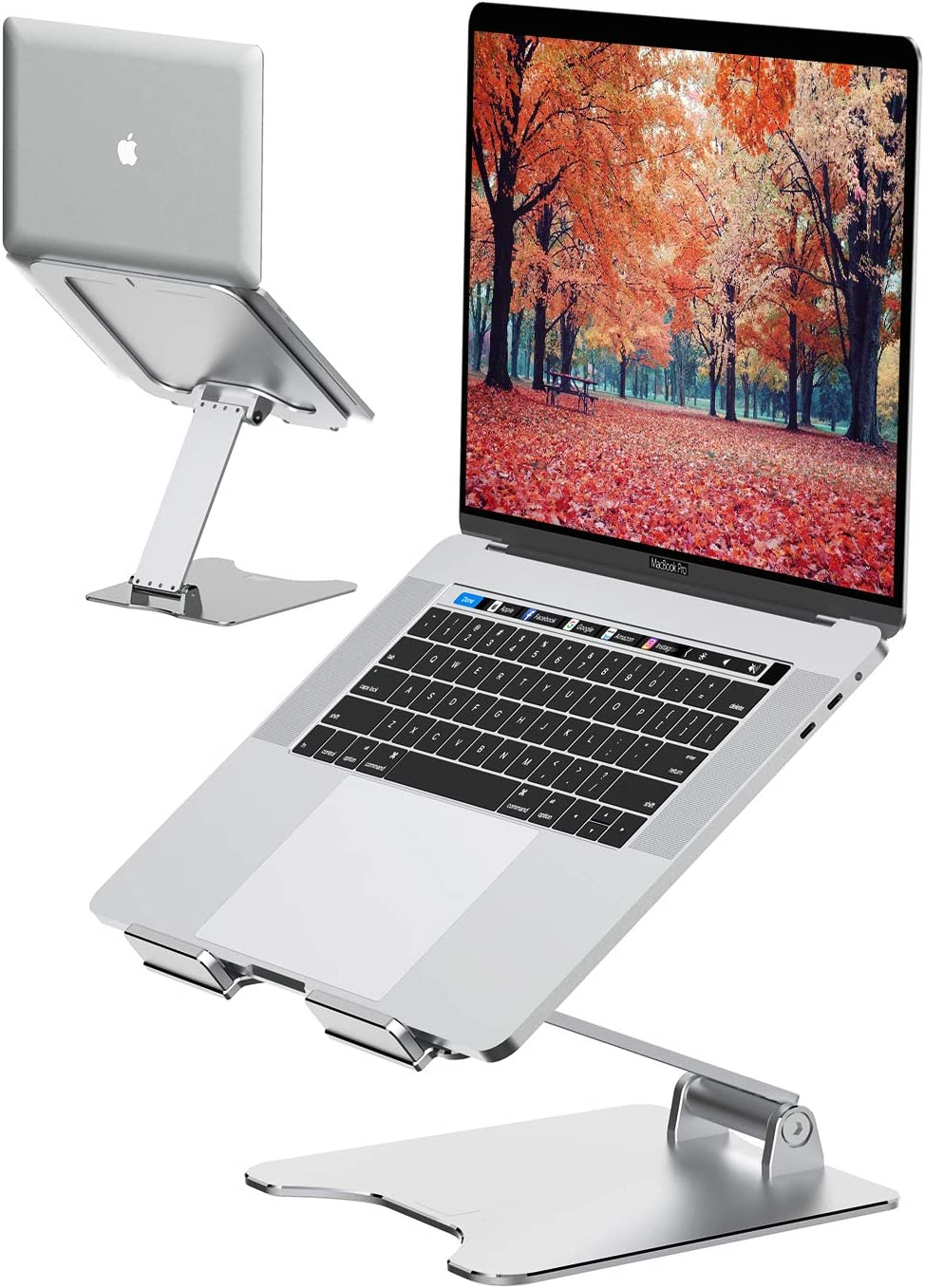 "Laptop Stand, VMEI Ergonomic Aluminum Cooling Stand Computer Stand,Adjustable Foldable Laptop Riser MacBook Stand Compatible with MacBook Air Pro, Dell XPS, Lenovo More 10-15.6"" Laptops- Silver"