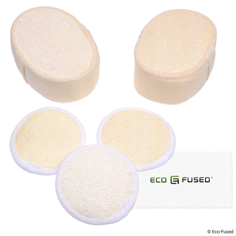Ensemble de 2 éponges de loofah et 3 tampons de loofah - Éponges exfoliantes pour le récurage - Matériau naturel du luffa - Produit essentiel pour le soin de la peau - Pour la douche / le bain - Texture fibreuse - Parfait pour le lavage du visage et du cor