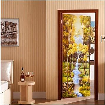 Decoración del hogar 3D paisaje creativo puerta pegatinas decorativas dormitorio puerta baño puerta impermeable autoadhesivo mural DIY pegatina otoño río: Amazon.es: Bricolaje y herramientas