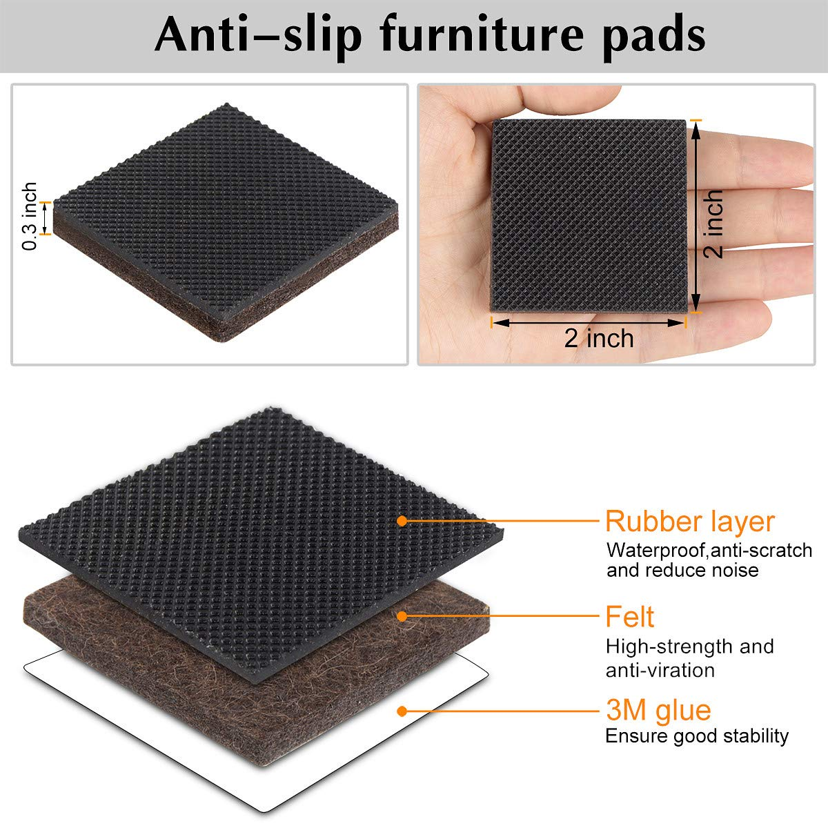 FurniMate PADS-00003A Grippers Self Adhesive Square Rubber Anti Scratch Protectors Stopper on Hardwood Wood Floor in a Storage Case 20 Pieces 2'' Non Slip Furniture Pad, 2 inch, Funiture by FurniMate (Image #2)