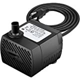 Ideashop Submersible Pump, Water Pump, Water Fountain Pump 90 GPH(350L/H, 4W) Portable Water Pump Mini Water Pump for Pond, Statuary, Aquarium, Fish Tank Fountain with 5.9ft(1.8m) Power Cord (Black)