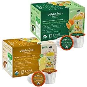 Mother Earth Essentials Superfood Tea GINGER LEMON & ORANGE BASIL infused with Organic Apple Cider Vinegar with The Mother. Get your daily dose with organic fruit & herbs. (12 Tea Pods of each flavor)