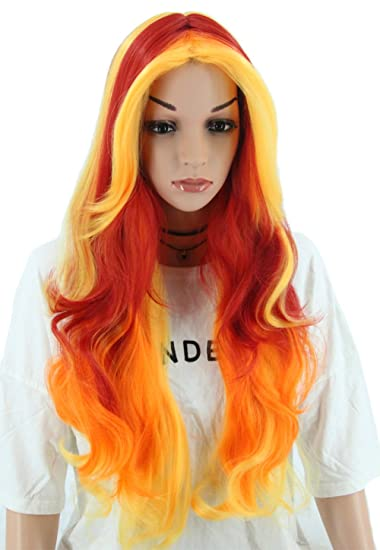 Topcosplay Women Wig Long Wave Fire Wig Cosplay Ombre Wig Halloween Costume Wig Red Yellow  sc 1 st  Amazon.com & Amazon.com : Topcosplay Women Wig Long Wave Fire Wig Cosplay Ombre ...