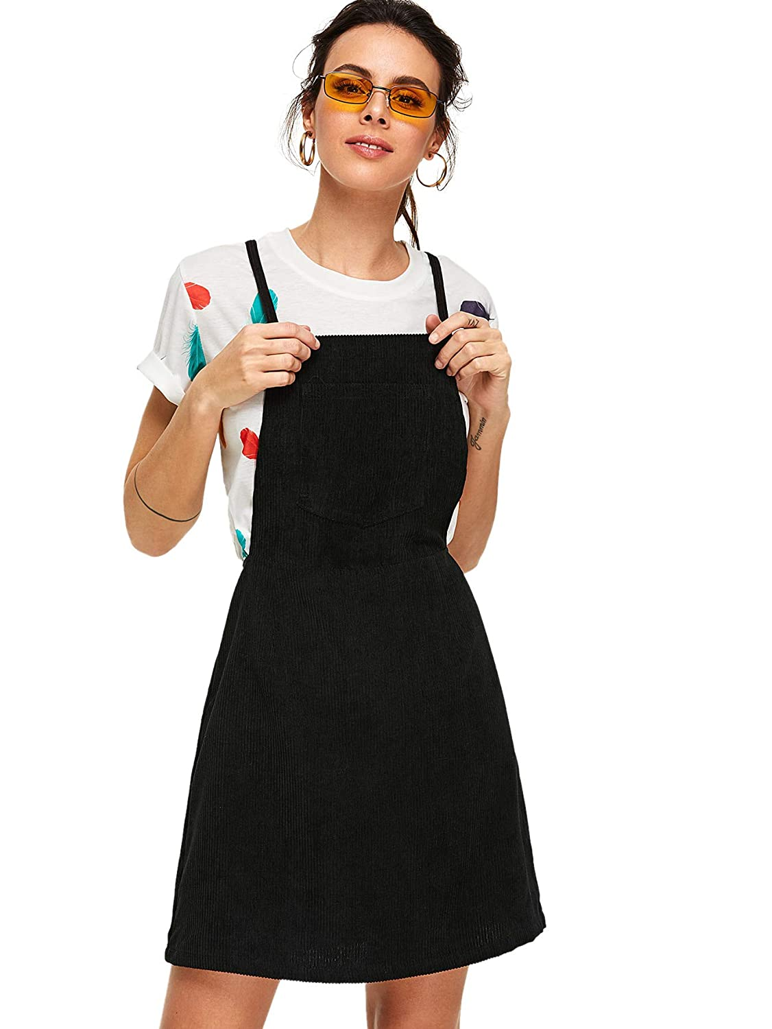 33d8ed2a9f7 MAKEMECHIC Women s Crisscross Back Pocket Corduroy Pinafore A Line Overall  Dress at Amazon Women s Clothing store