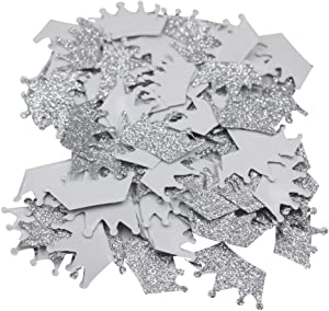 Mybbshower Silver Glitter Crown Stickers 1 3/4 inch Princess Party Decor Wall Stickers Pack of 100