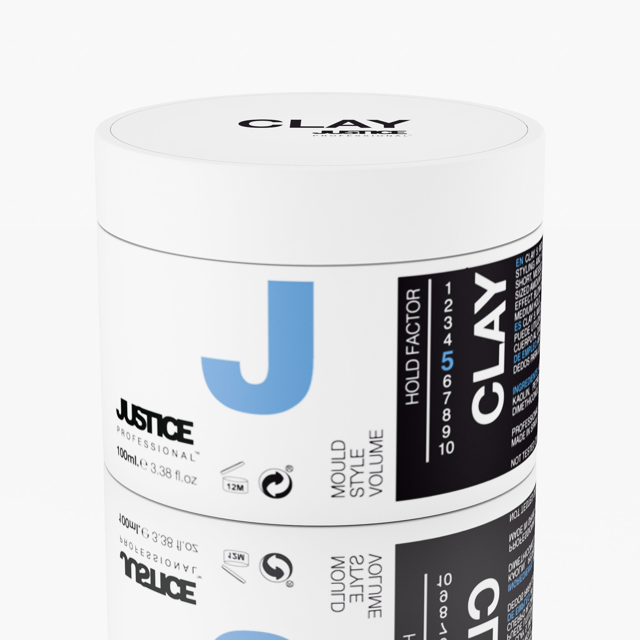 Medium Hold Hair Styling Clay for Men and Women -Thicker Fuller Texture, Minimal Shine, Anti Humidity Natural Kaolin Wax Cream - Short Messed Up Styles With No Crunch/JUSTICE Professional 100ml 3.4oz