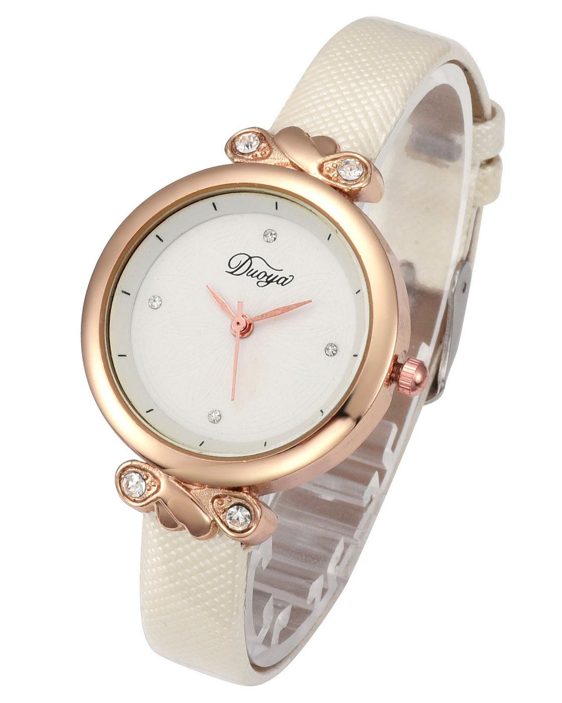 Top Plaza Women Fashion Watches Leather Band Luxury Analog Quartz Watches Girls Ladies Wristwatch - White