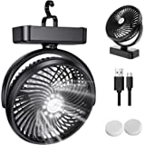 ZEBRE Camping Fan with LED Lantern - Rechargeable Mini Handheld USB Desk Fan for Home Office Stroller, Tent Fan with Hanging