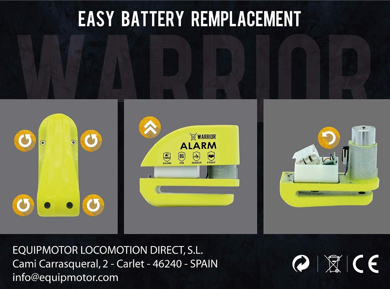 Bicicletta elettrica Universale Moto Impermeabile Scooter Warrior WA6Y Lucchetto Antifurto Bloccadisco Allarme 110 Db Certificazione CE /ø 6 mm Cavo Reminder