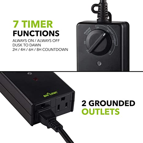 """Timer 24 Hour Outdoor Indoor Photocell Light Sensor 2 Grounded Outlets 6/"""" Cord"""