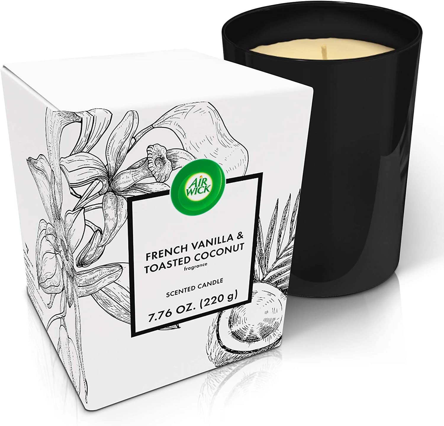 Air Wick Scented Candles, French Vanilla and Toasted Coconut Fragrance, 40 Hours Long-Lasting Burn, Luxury Dark Glass for Home Décor, Gift idea, Premium Crafted Candle Jar, 7.76oz
