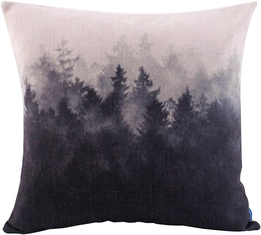"18/"" Home Cotton Linen Car Sofa Bed Decor Waist Cushion Pillow Case Cover Forest"
