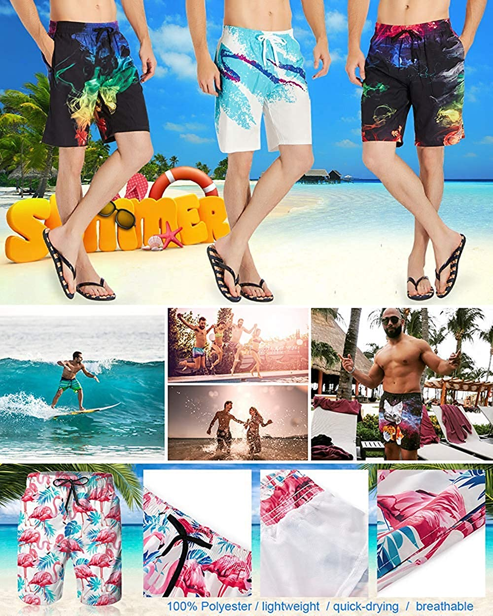 SDHEIJKY Mens Swim Trunks Summer 3D Print Cool USA Dollar Bill Graphic Casual Athletic Swimming Short