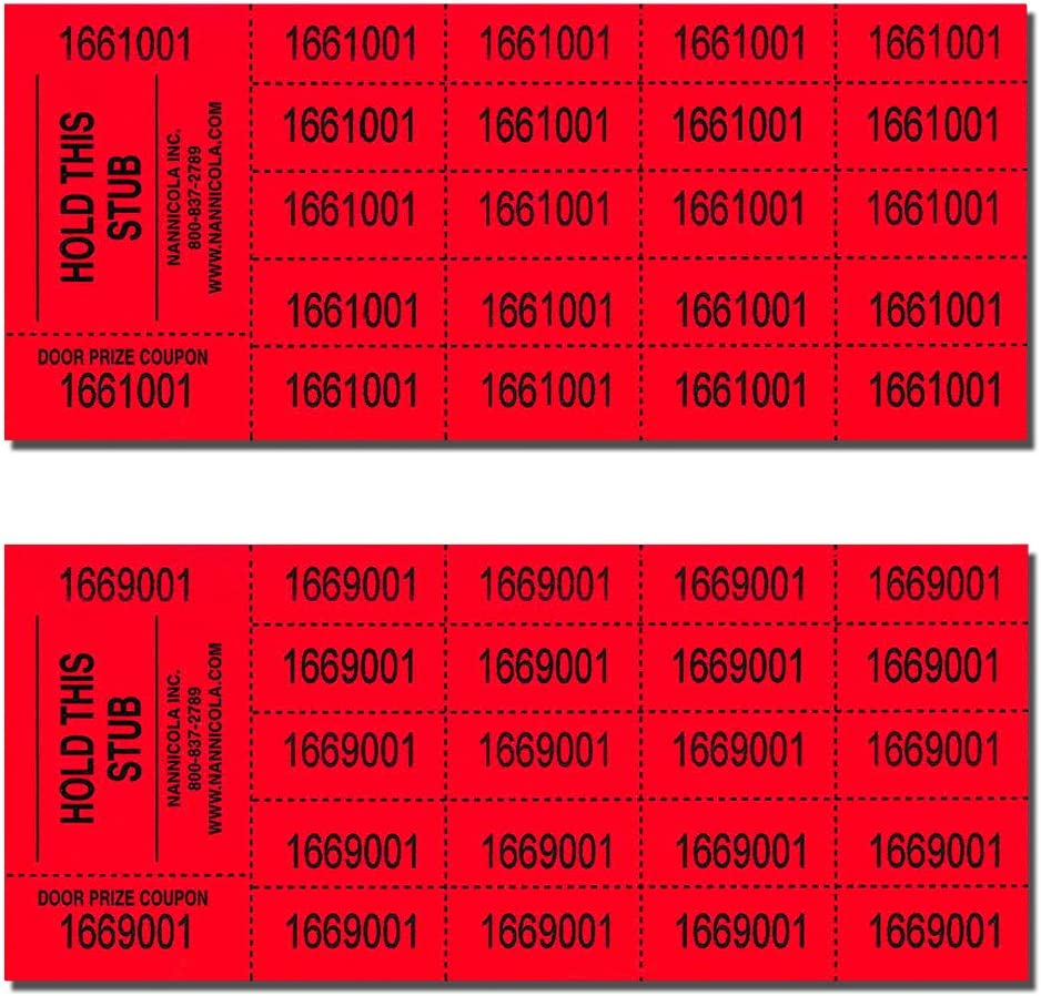 250 Sheet 2 Pack Red Auction Tickets Assorted Colors 500 Sheets Total