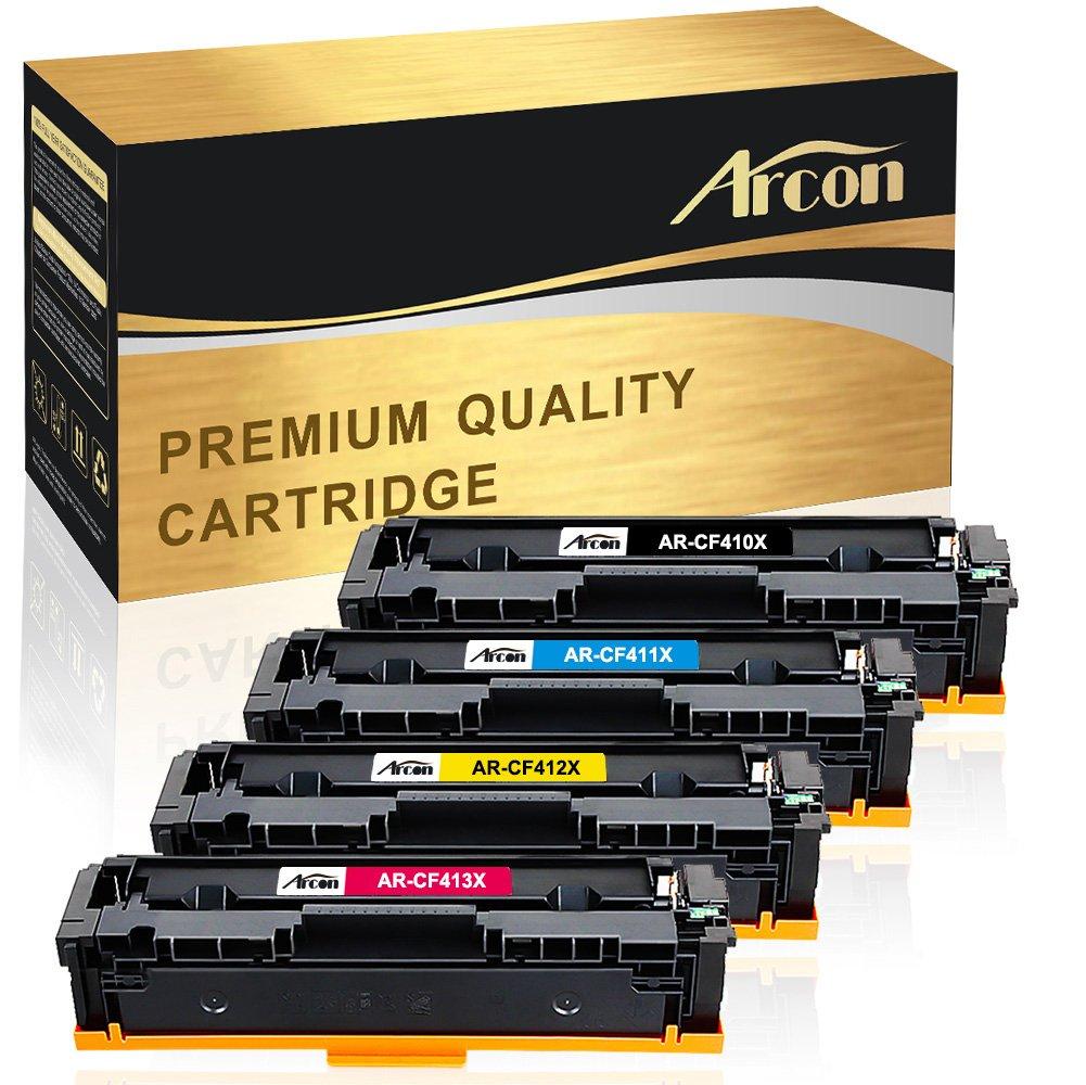 Arcon 4 Packs Compatible HP 410A 410X CF410X CF411X CF412X CF413X Toner Cartridge for HP Color LaserJet Pro MFP M477fnw M477fdw M477 Fnw M477fdn M452nw M452dn M452dw M452 Fdw Printer Toner Cartridge