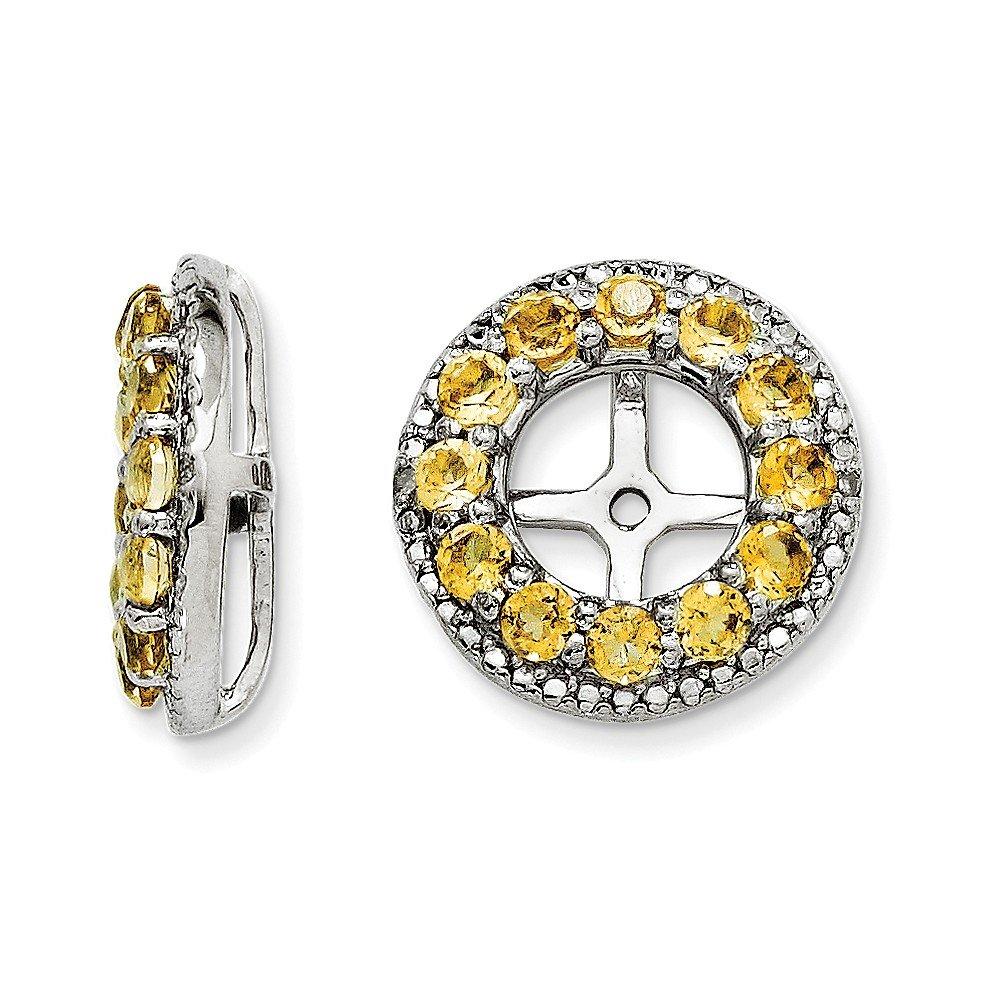 Sterling Silver Rhodium Diamond & Citrine Earring Jacket
