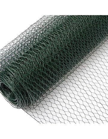 valla de Tela Metálica hexagonal + Postes | Rollo 25m | Altura tela metálica 1m |