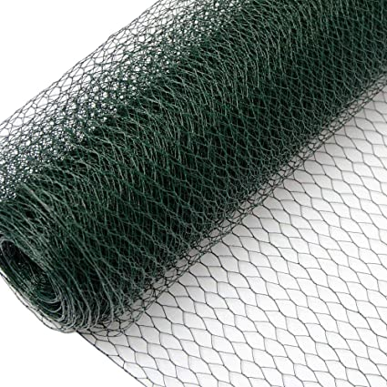 Wire Netting Fence + Metal Fence Posts | Hexagonal Chicken Wire Height 0,5m  | Mesh 13x13mm | Roll 25m | Incl 20 Fence Posts Poles Height 80cm | Green