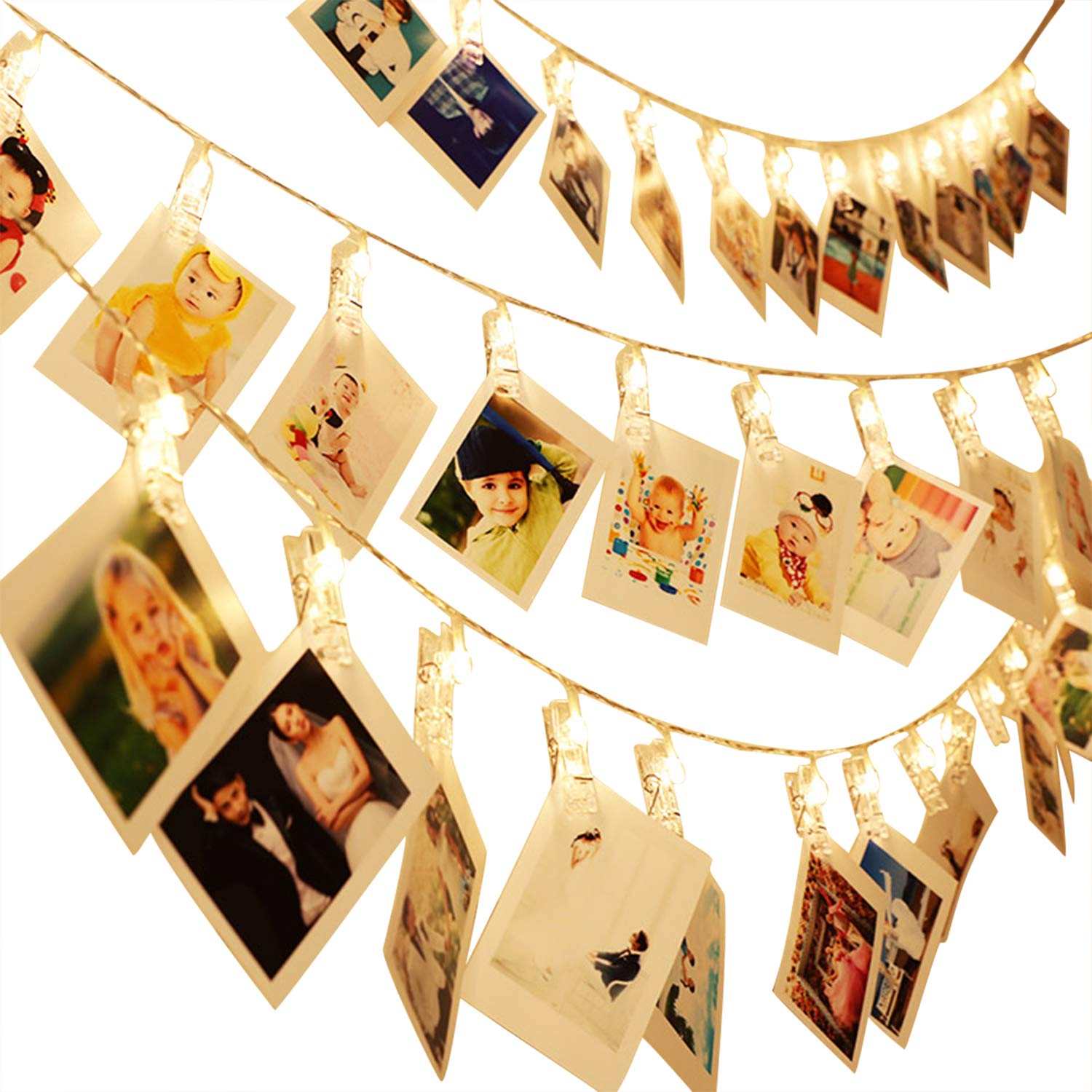 Dreamiracle String Lights, 40 LED Photo Clips 16.4ft Fairy Lights for Hanging Photos Pictures and Memos, Perfect for Dorm Bedroom Home Decor (Warm White)