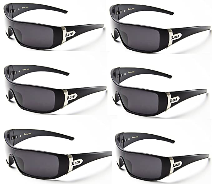 90810484e9 Image Unavailable. Image not available for. Colour  LOCS SHADES sunglasses  mens Eazy E gangster (6 Pack - Black ...