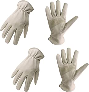 2 Pairs Pigskin Leather Work Gloves with Reinforced Palm for Men & Women, Stretchable Wrist Rigger Glove for Driver, Construction, Yardwork, Gardening (M, Beige)