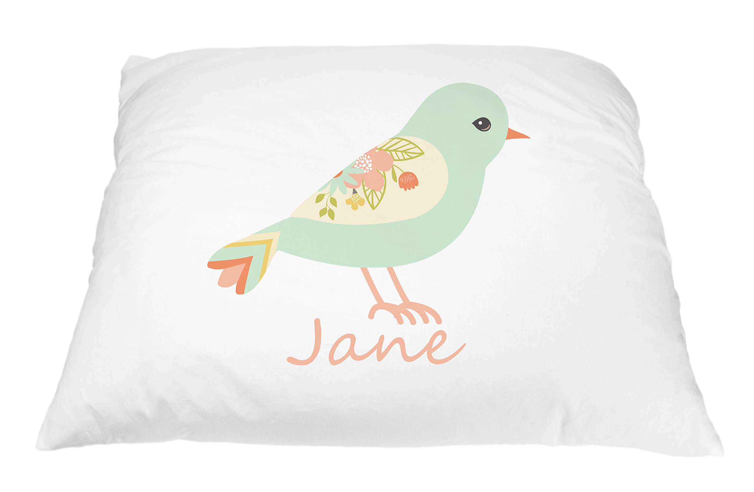 Personalized Kid's Turqoise Bird Pillowcase Microfiber Polyester Standard 20 by 30 Inches, Bird Pillow Cover, Unique Nature Gift for Kids, Personalized Gifts For Kids, Bird Décor Nature Pillow