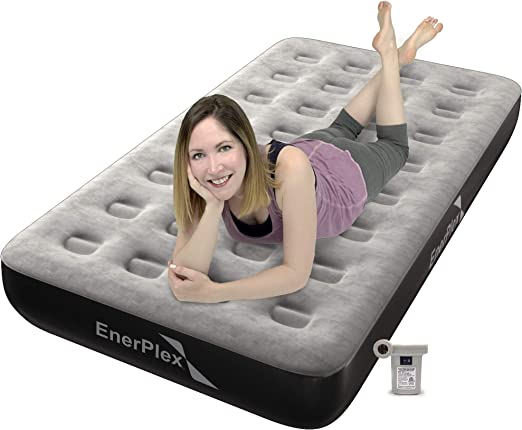 Grey//Black EnerPlex Never-Leak Camping Series Queen Camping Airbed with High Speed Pump Never Queen Size Air Mattress Single High Inflatable Blow Up Bed for Home Camping Travel 2-Year Warranty