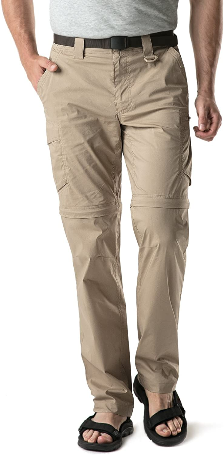 CQR Men's Convertible Cargo Pants, Water Repellent Hiking Pants, Zip Off Lightweight Stretch UPF 50+ Work Outdoor Pants