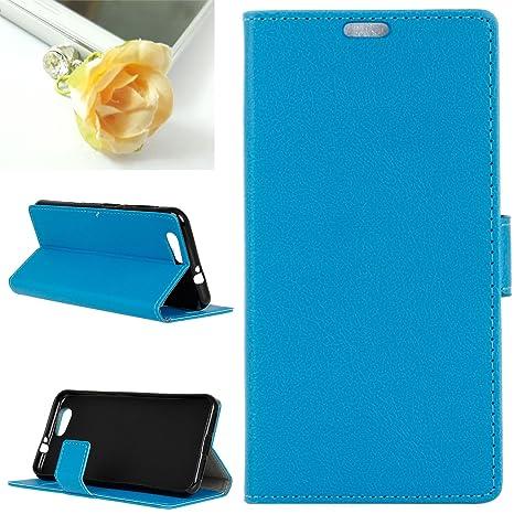 Para ZTE Blade A512 Funda, Mobilefashion Funda de PU Cuero Case para ZTE Blade A512 5.2 inch (Azul KS) Con Soporte Plegable y Ranura para tarjeta + 1x ...