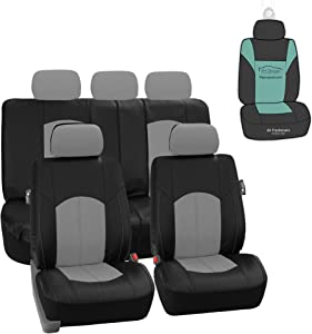 FH Group PU008115 Highest Grade Faux Leather Seat Covers (Gray) Full Set with Gift – Universal Fit for Cars Trucks & SUVs