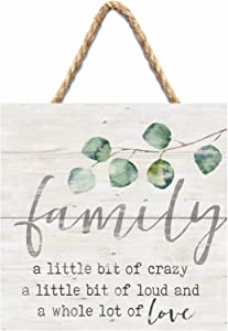 P. Graham Dunn Family Little Crazy Loud Lot of Love White 7 x 7 Inch Wood Pallet Wall Hanging Sign