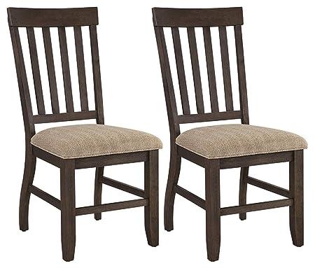 img buy Ashley Furniture Signature Design - Dresbar Dining Room Chair - Classic Rake Back with Plush Seats - Set of 2 - Cream Finish