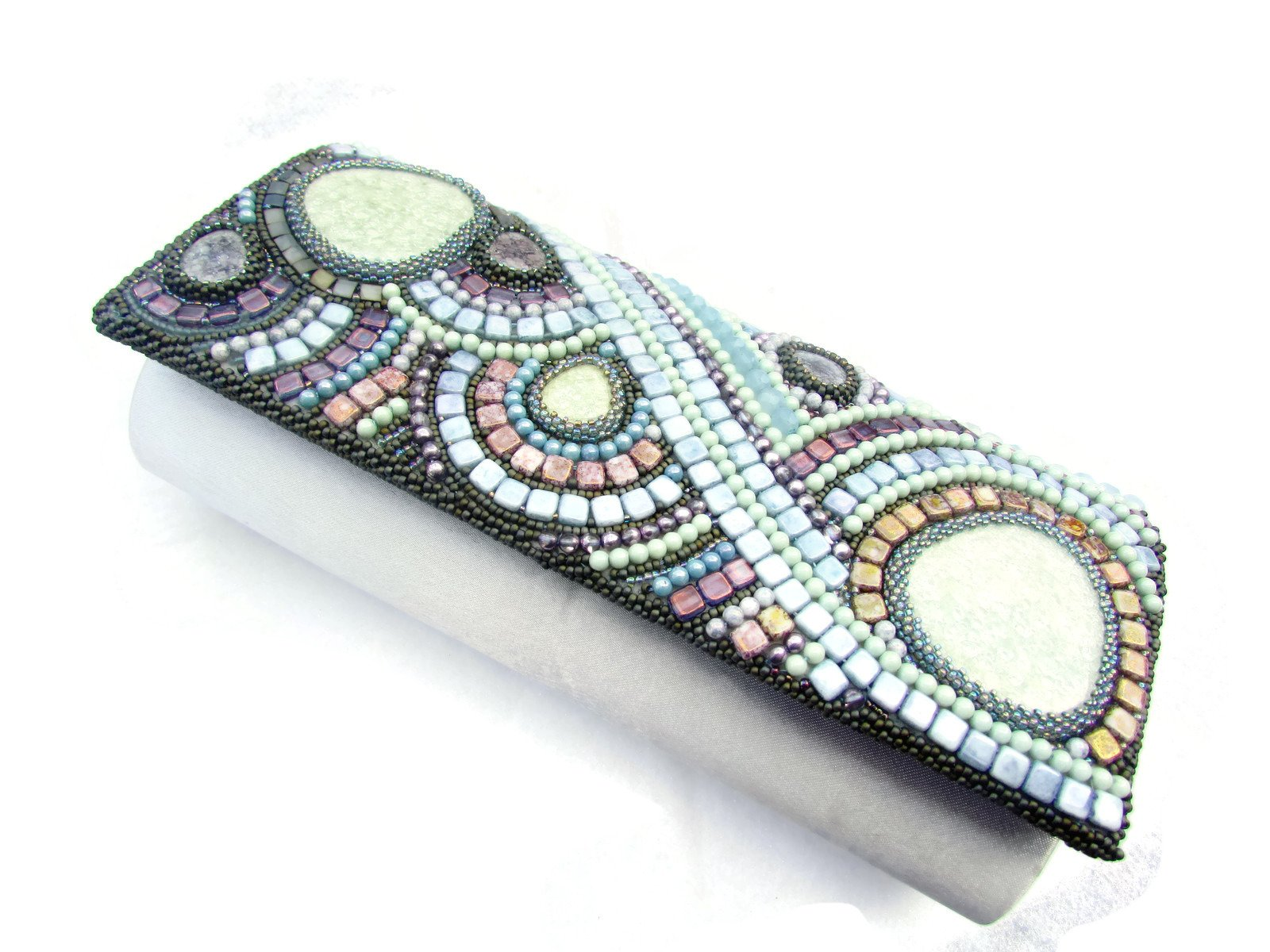 Original & unique multicolored handmade bead embroidered artisan jewelry purse handbag pouch clutch - Color universe