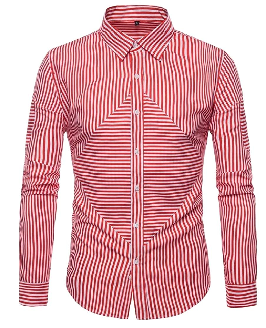 Cromoncent Mens Long Sleeve Striped Big /& Tall Button-Down Lapel Shirts