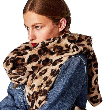 LEvifun Femme Écharpe Leopard Printed Chaude Foulards Châle de Laine Vogue  en Automne Hiver Cape Souple Confortable Pashminas Chèche Châle Étole  (Brown)  ... 00916b340b8